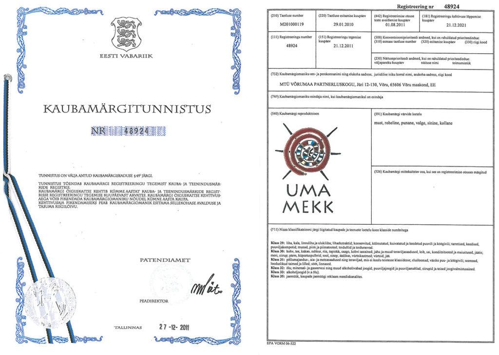 Uma Mekk kaubamärgi sertifikaat